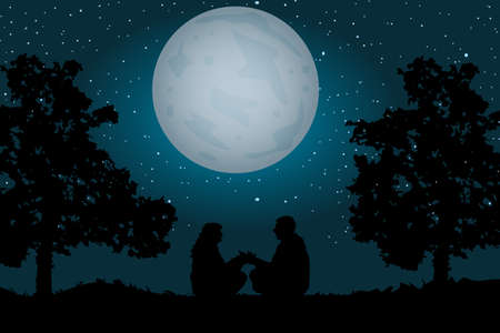 Couple sitting under the moonlight and starry sky. Romantic silhouette of loving couple sit on grass near a tree. Silhouette of loving couple in Valentines night. Man and woman holding hand. Stock vector illustration