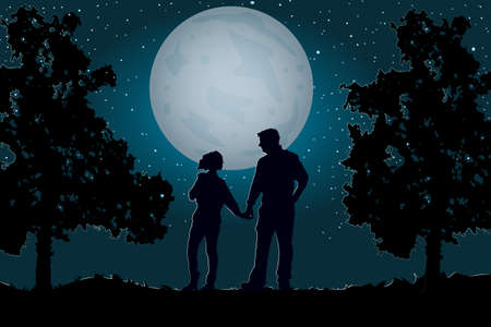 Couple walking together holding hands under the moonlight and starry sky.