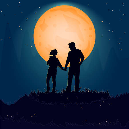 Silhouette couple man and woman holding hand together on hill under moonlight.