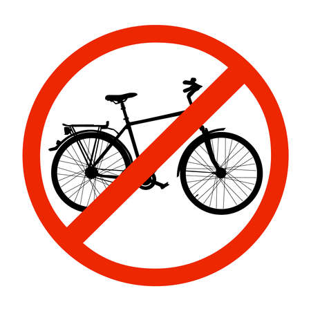 No bicycle sign, bike prohibited symbol isolated on white background. Sign indicating the prohibition or rule. Warning and forbidden. No bicycle road circle sign. Flat design. Stock vector illustration Ilustrace