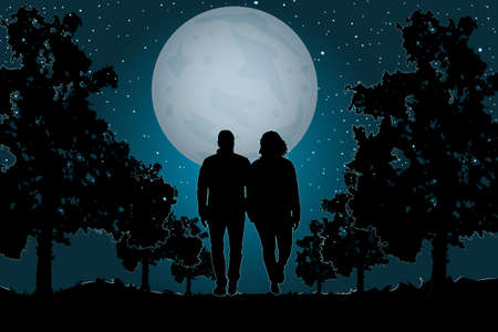Couple in love walking on the moonlight. Couple walking together in the park. Valentine's Day. Happy Lovers. Romantic silhouette of loving couple in Valentines night. Man and woman in night scene. Stock vector illustration Vektorgrafik