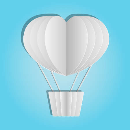 Origami white hot air balloon isolated on blue background. Paper art craft balloon gondola. Air transport for travel. Paper art style. Worldwide travel, air journey, time travel concept for banner, poster, website page. Stock vector illustration Illustration