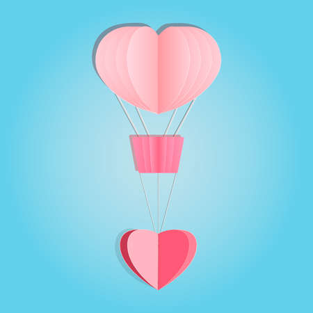 Paper hot air balloon with heart isolated on blue background. Happy love and valentine day. Origami made pink hot air balloon and heart shape flying. Paper art and craft style. Stock vector illustration