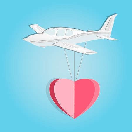 Paper airplane with heart isolated on blue background. Happy love and valentine day. Origami made white cut small aircraft and heart shape flying. Paper art and craft style. Stock vector illustration Illustration