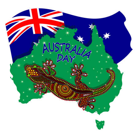 Map of Australia with lizard and flag isolated on white background. Australian continent. Australia day. Naidoc week. Union jack. Reconciliation Day. Travel to australia poster design. Stock vector illustration