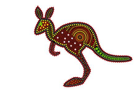 Kangaroo isolated on white background. Australia aboriginal kangaroo dot painting. Aboriginal tribal styled kangaroo. Decorative ethnic style. Element for flyer, poster, banner, placard, brochure. Stock vector illustration
