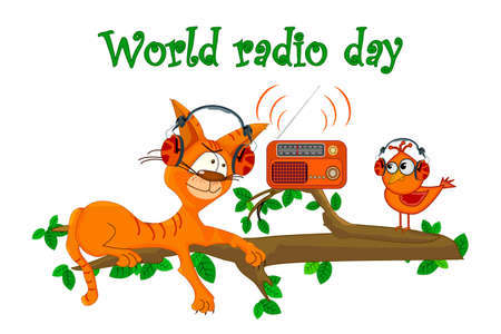 Cat and bird with radio isolated on white background. Cute cat with bird listening music on the tree branch. World radio day. Retro radio and comic animals. FM recorder for information broadcasting. Stock vector illustration