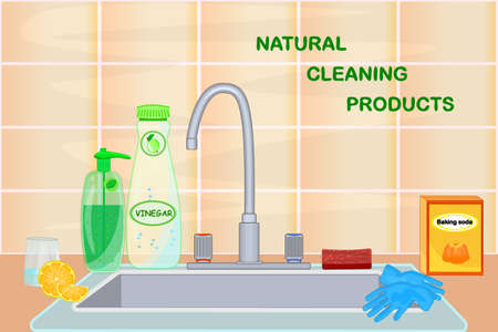 Kitchen sink with natural cleaning products. Vinegar, lemon, baking soda. Cuisine with faucet, dish detergent, soap, gloves and sponge. Tile wall, sink and tap. Dishwashing with eco friendly products. Kitchen interior design. Green home. Zero waste lifestyle. Stock vector illustration