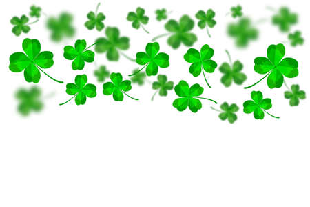 Saint Patrick's Day backdrop template. Abstract bright and blurry luck clovers isolated on white background. Happy St. Patricks Day banner with flying lucky shamrock leaves and copy space. Stock vector illustration Ilustrace