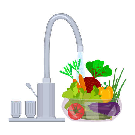 Washing vegetables and fruit. Bowl with vegetables under running water isolated on white background. Clean food concept. Personal hygiene. Wash raw food before cooking. Virus prevention and protection. Stock vector illustration