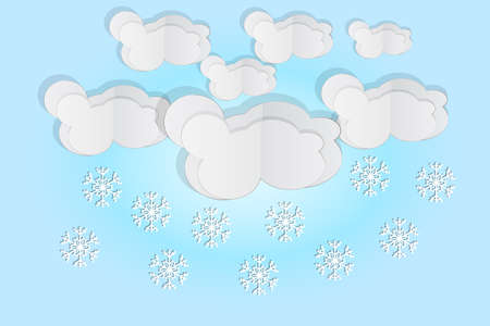 Paper cut clouds with snowflakes on blue sky background. Origami art snowing season. Forecast concept with snow from the cloudy sky. Paper sky. Winter time. Christmas and New Year card. Weather forecast. Stock vector illustration Ilustrace