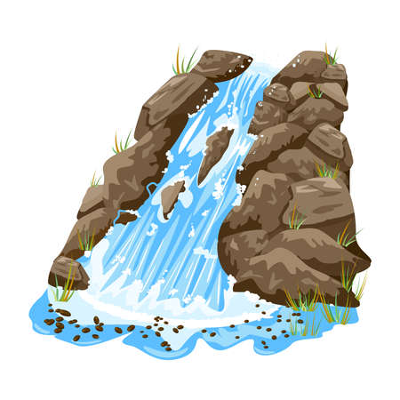 Waterfall isolated on white background. Water cascade on steep rocky. Waterfall with stones. Landscape of cascade falling water in park, jungles or garden. Element for scenery design. Stock vector illustration