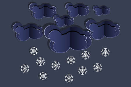 Paper cut clouds with snowflakes on dark sky background. Origami art snowing season. Forecast concept with snow from the cloudy sky. Paper sky. Winter time. Christmas and New Year card. Weather forecast. Stock vector illustration