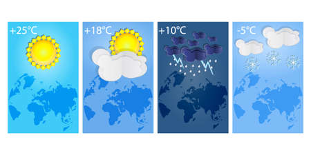 Vertical posters set different types of weather forecast. Thunderstorm, rain, sunny day, night and winter snow. Winter and summer symbols. Collection of various seasons, daily temperature and world map. Paper cut style. Place for text. Stock vector illustration