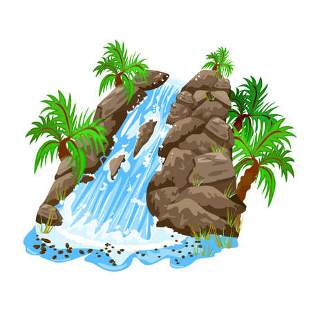 Waterfall in jungle isolated on white background. Waterfall and palm trees. Cartoon landscapes with water cascade, mountains, trees and bushes. Waterfall in tropical forest. Element for scenery design. Stock vector illustration