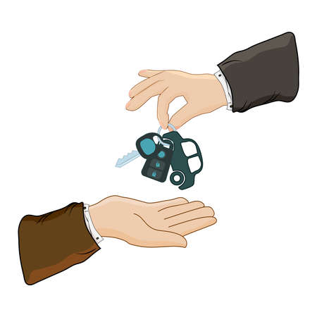 Car rental, repair or sale concept. Hand giving car keys isolated on white background. Car key with small car as keyring given from one hand to another. Test drive. Mortgage, credit or property notion. Stock vector illustration Ilustrace