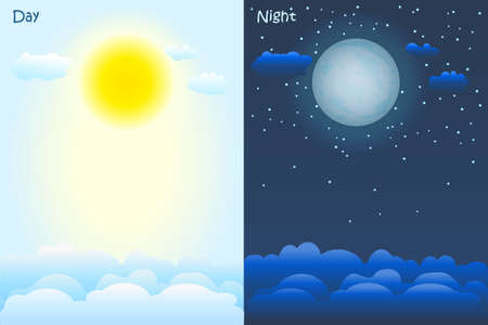 Day and night time concept. Sky background with sun, clouds, moon and stars. Poster or banners for weather forecast broadcasting. Weather app screen, mobile interface design. Stock vector illustration