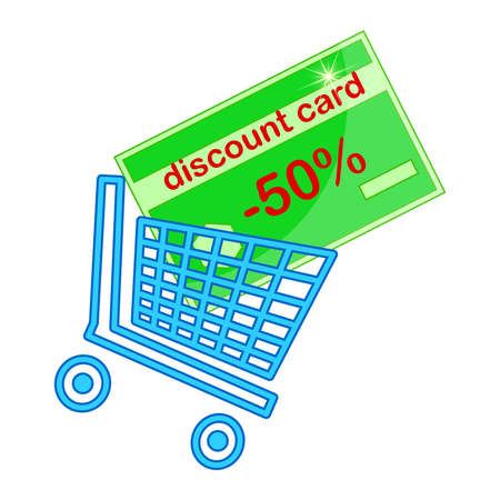 Discount card in shopping cart isolated on white background. Shopping basket. Shopping trolley and credit card. Online service with collecting points and shopping sale. Grocery or other goods home delivery and shopping app sign. Loyalty program. Stock vector illustration