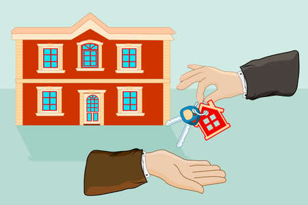 Hands giving keys with small house key ring given from one hand to another. Real estate, sale and rent of apartment concept. Businessman hands giving key for house, successful investment concept. House handover.  Stock vector illustration