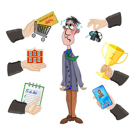 Depressed man with many hands isolated on white background. Multitasking problem with stress and pressure frustration. Multitasking and productivity concept. Work overload to person. Stressful at life. Stock vector illustration Ilustrace