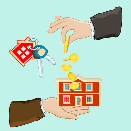 Buying house. Real estate, hand, house, key isolated on green background. Hand holds house and giving, receiving golden coins from other hand. Buyer, customer gives gold coin. Exchange of money for the keys to the house. Stock vector illustration