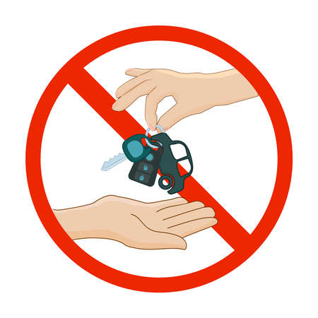 Prohibition red symbol with hand and car key isolated on white background. Dont drive sign. Forbidden to drive. Car key in ban sign. Do not drink when you drive. Vehicle inspection. Stock vector illustration Ilustrace