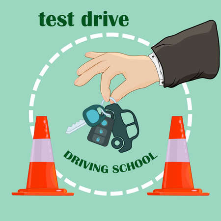 Hand holding car key. Hand giving car keys in the other hand. Test drive concept. Successful driving school exam. Permission to drive. Car driving school promo poster or banner. Stock vector illustration