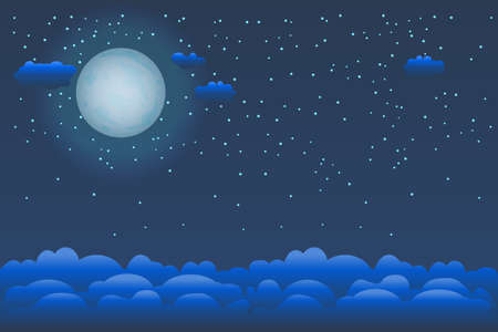 Mystical night sky background with moon, clouds and stars. Moonlight night. Stylized halloween night sky. Weather forecast   banner with copy space. Beautiful sky panorama. Abstract fantasy or dreamy backgdrop. Stock vector illustration Ilustrace