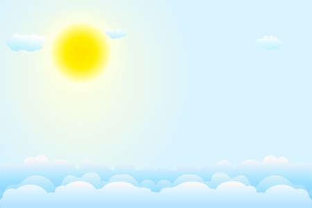 Blue sky background with white clouds and sun. Day and summer. Clear weather. Backdrop for good weather forecast. Clear summer nature, sunlight weather. Easter banner with copy space. Stock vector illustration Ilustrace
