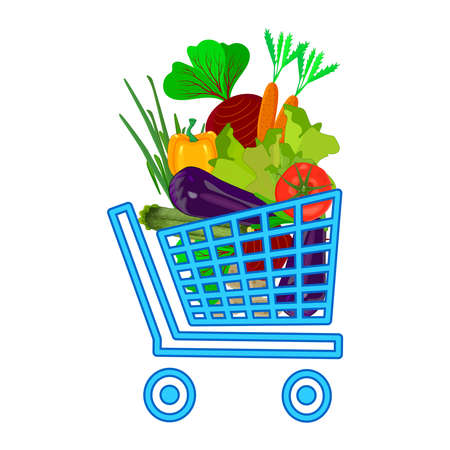 Shopping cart with different vegetables isolated on white background. Supermarket shopping cart. Shopping trolley with full of groceries products. Buying bio food. Fresh fruits and vegetables purchase. Stock vector illustration