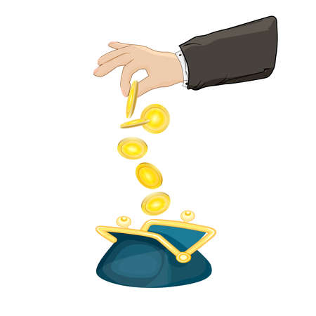 Hand puts money into the wallet isolated on white background. Growth, income, savings, investment concept. Symbol of wealth or family finance. Business success. Bank deposit metaphor. Stock vector illustration