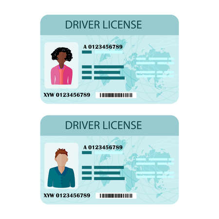 Man and woman driver license isolated on white background. Driver license plastic card template. Vehicle identity document with photo. Identity, ID or identification card, identity verification, person data. Stock vector illustration