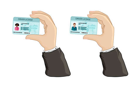 Car driver license in hand isolated on white background. Hand holding or showing the car driver license identification card with photo. Identity, ID, identity verification, person data. Stock vector illustration