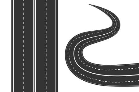 Road with white markings isolated on white background. Street icon. Straight and curved asphalt road texture with white stripes. Set of bending roads and highways. Highway location infographic template.  Top view. Stock vector illustration