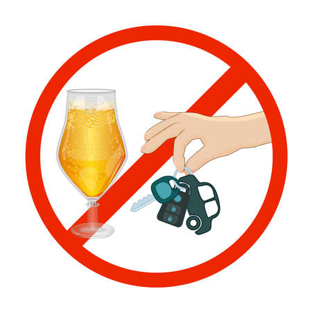 Dont drink and drive sign isolated on white background. Warning icon in red circle with beer glass and car keys. Beer mug and hand is holding a automobile key in prohibition symbol, pictogram. Be a responsible driver. Stock vector illustration
