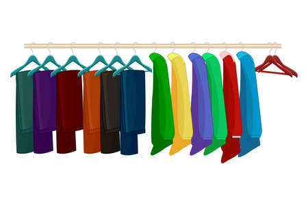 Clothes on hangers isolated on white background. Clothes and accessories fashion set. Racks with different apparel. Seasonal sale concept. Clothing organization or storage. Inner space of closet or wardrobe. Stock vector illustration