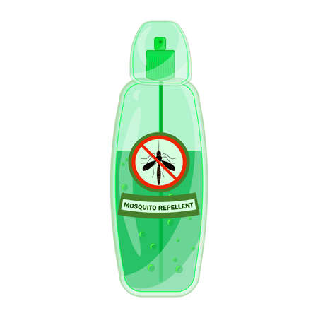 Mosquito repellent isolated on white background. Mosquito repellent bottle spray with pest stop sign. Bug repellent spray aerosol prevention. Outdoor protection, repelling flying insects. Stock vector illustration Ilustrace