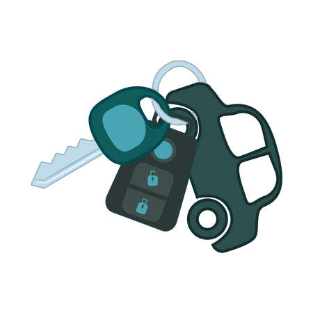 Car key isolated on white background. Automobile key ring with alarm system and small car as keyring. Car keys with remote. Car rent or purchase concept. Transport design. Stock vector illustration Ilustrace