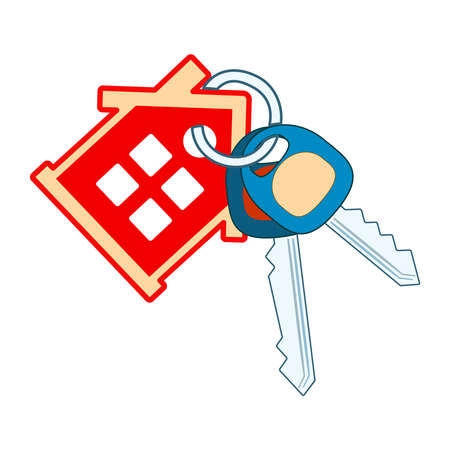 House keyring and key isolated on white background. Keys making. Red house with windows, two key and key ring. Purchase of a new dwelling or real estate symbol with keychain and cottage figures. Stock vector illustration