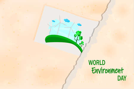 Picture with wind turbines pasted to torn paper background. World environment day and sustainable development poster. Renewable energy or eco concept banner. Wind air turbine energy. Stock vector illustration