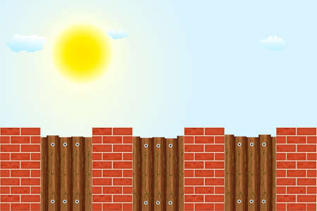 Wooden fence against the sky. Rural wooden fence with pillars of bricks and sky with sun and clouds. Red brick poles fence with brown wooden boards. Farm or garden palisade. Stock vector illustration Ilustrace