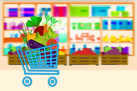 Shopping cart full of vegetables on supermarket shelves background. Food store, mall interior inside. Online store. Ecommerce banner with shop trolley and goods. Farming fresh food, organic agriculture products. Stock vector illustration Ilustrace