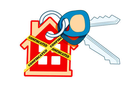 House keyring and key with yellow warning tapes isolated on white background. House is labelled as confiscated. Housing bubble and mortgage crisis concept. Real estate seize. Stock vector illustration