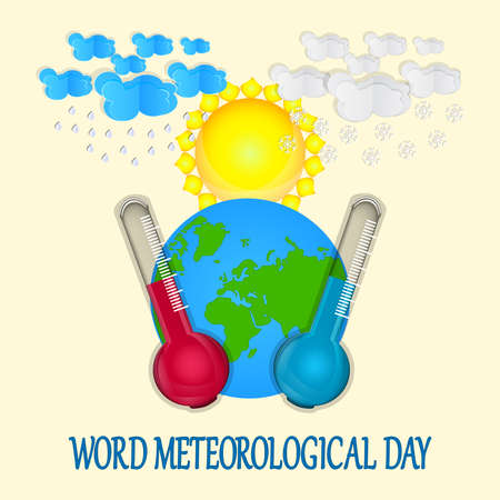 World meteorological day. Greeting card with earth planet, sun, clouds, rain, snow, thermometers and text on yellow backdrop. Meteorology science holiday. Template for background, banner, card, poster with text inscription. Stock vector illustration
