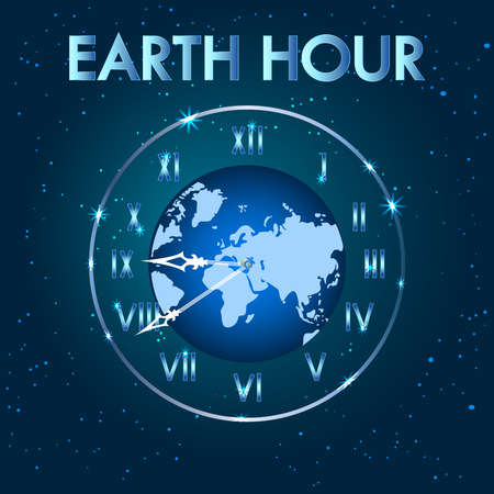 Earth hour. Earth planet clock. Earth globe with clock. Save our planet concept. Switch off the light for 1 hour. International action calling for the switching off of light for one hour. Stock vector illustration