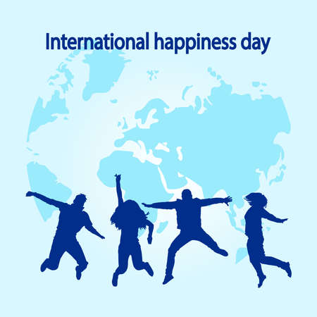 International Happiness Day. Happy jumping people silhouettes isolated on map background. World Happy Day banner. Stock vector illustration Ilustrace