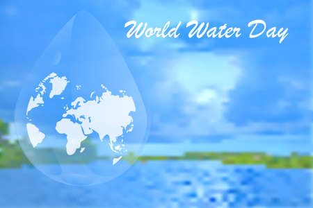 World water day. Abstract waterdrop concept of landscape background. Earth planet in waterdrop. Ecology concept. Save water. World water day backdrop, greeting card or poster for campaign save water. Stock vector illustration Ilustrace