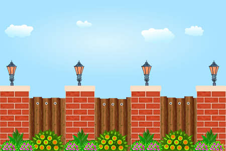 Wooden fence against the sky. Wooden fence with pillars of bricks, street lamps, green plants and blue sky. Red brick poles fence with brown wooden boards. Scenery of a city park or street wall. Stock vector illustration