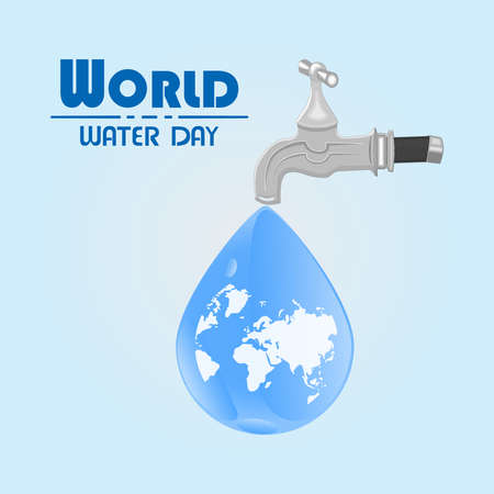 World water day. Water tap with the Earth globe inside water drop on blue background.