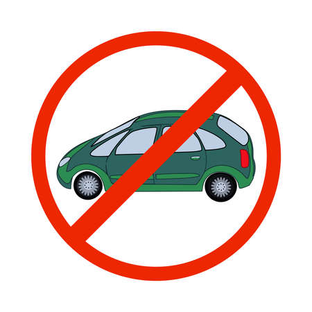 No cars sign isolated on white background. No parking. Do not park car. Traffic sign. No vehicles allowed sign in red circle. Crossed out silhouette of a car. Street prohibit sign. Stock vector illustration